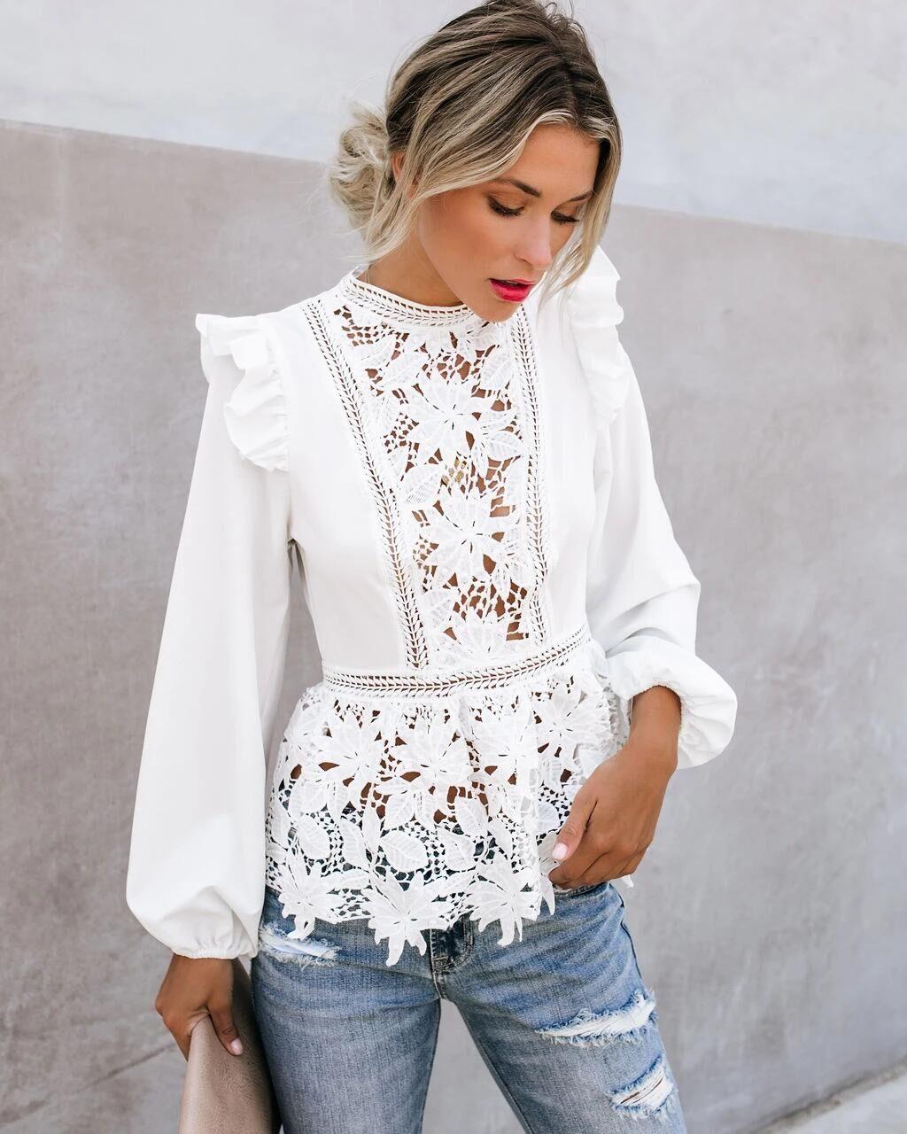 Женские цветочные кружевные Элегантные блузки с оборками, белые топы в стиле бохо с длинным рукавом, женские рубашки с вырезами, Весенняя бл...