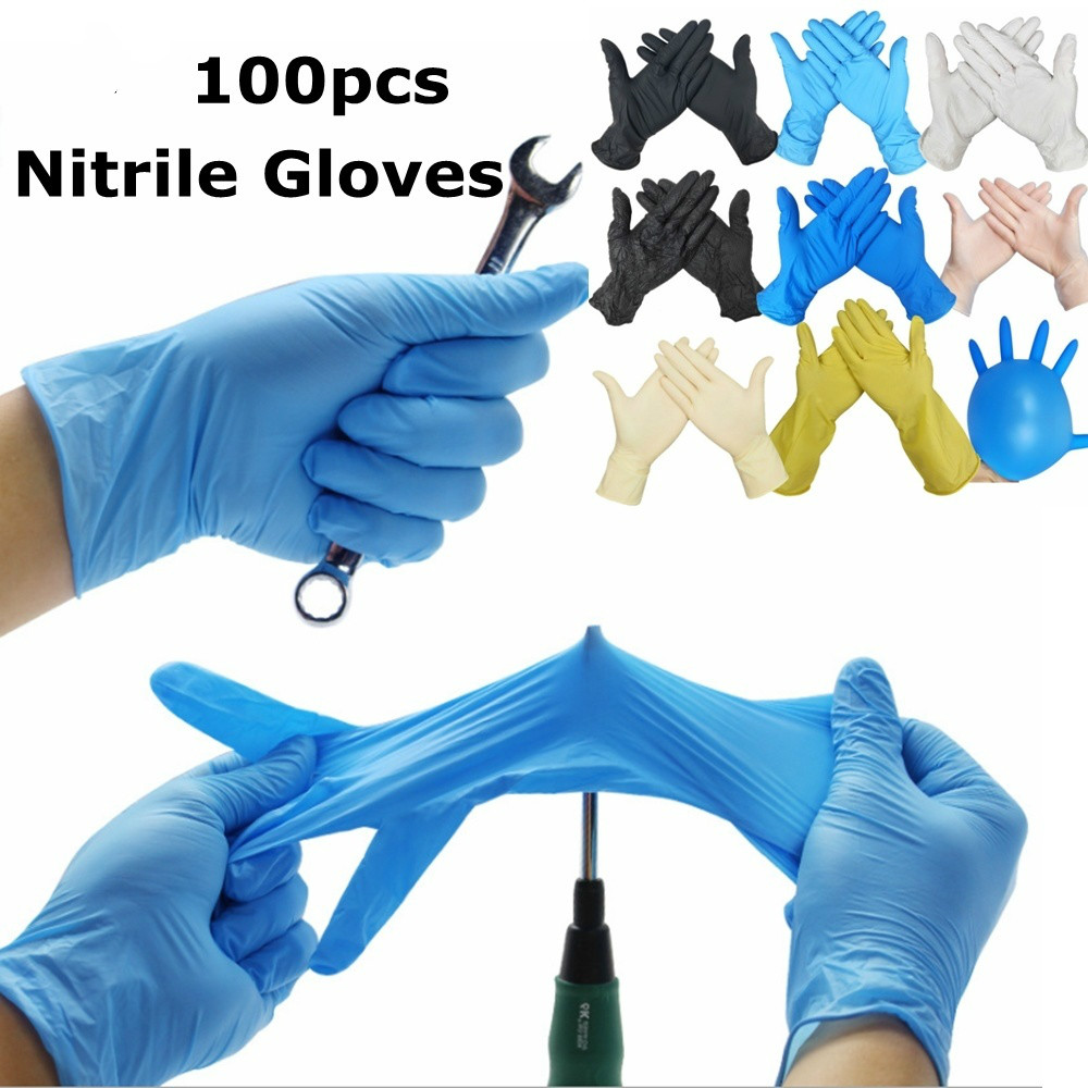 100pcs Industrial Gloves Kitchen Alkali Tattoo Nail Art Beauty Salon Industrial Auto Repair Gloves Disposable Nitrile Gloves
