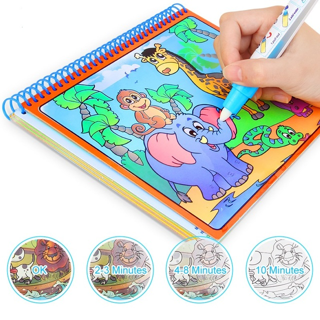 Magic Water Drawing Book With Magic Pen Painting Drawing Board Coloring Book Toys For Children Education Drawing Toy Kids Gifts 1