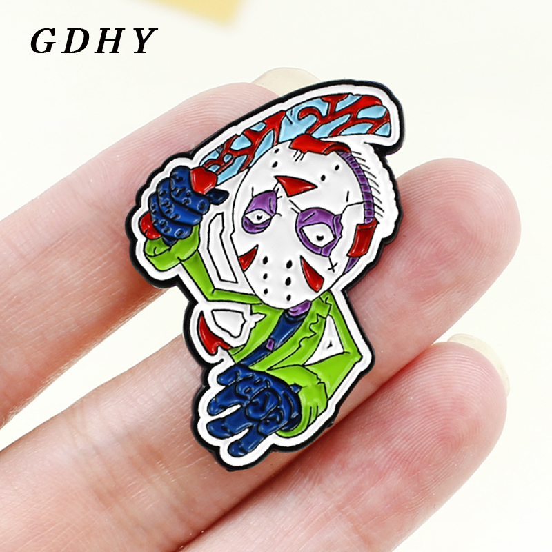 GDHY Horror Movie Mask Killer Jason Voorhees Brooch Enamel Pins Black Friday Card the 13th Slasher killer Halloween jewelry Gift image