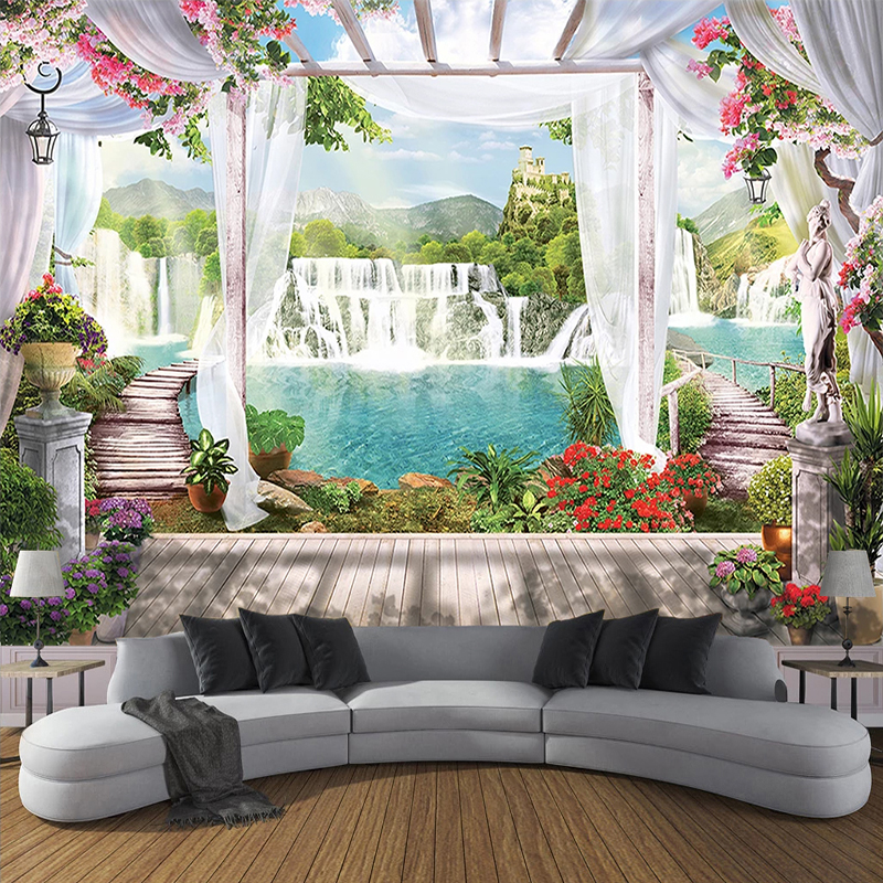 Пользовательские фото обои 3D занавески водопад балкон пейзаж живопись Европейский Стиль Гостиная Спальня Настенная картина домашний декор