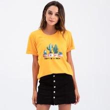 Женская модная футболка с принтом растения кактуса топы надписью