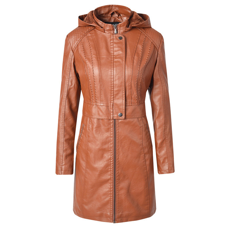 Leather Jacket 2019 New Autumn Winter Plus Size Loose Brown Black Coffee Long PU Coat Russian Warmth Clothing Feminina CX1030