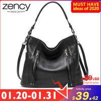 Nuevo bolso diario ZENCY, bolso de cuero genuino de lujo para mujer, bolso bandolera bohemio con cremallera, bolso femenino encantador