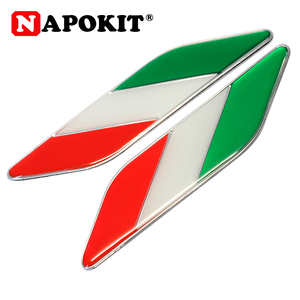Image 1 - 1 זוג רכב רכב סטיילינג מתכת לוגו אלומיניום איטלקי דגל פגוש סמל תג מדבקת עבור פיאט אלפא רומיאו Abarth רכב אבזרים