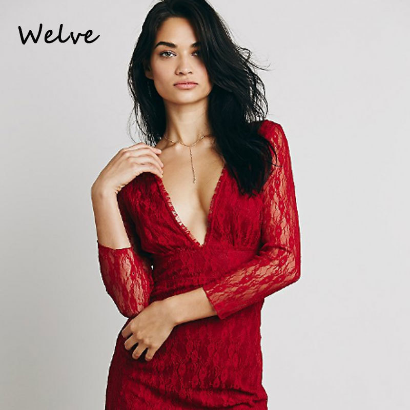 Welve Dress Women Red Dress Flower Lace V Lead Sexy Self-cultivation Short Dress Perspective Seven Part Long Sleeve Dress