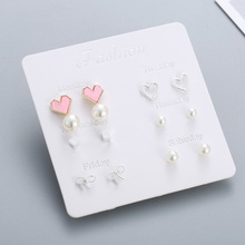 6 Pairs/set One Week Stud Earrings Set For Women Fashion Pink Heart Bow Pearl Silver Small Earring Mixed Girls Jewelry Gifts 6 pairs set a week earrings 2019 cute silver stud earrings set for women fashion stars heart crystal earring girls kids jewelry
