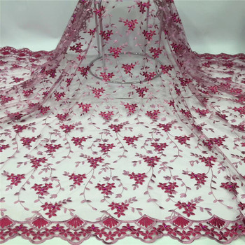 2019 New style French net lace fabric 3D flower African tulle mesh beads lace fabric high quality lace nigerian lace fabric
