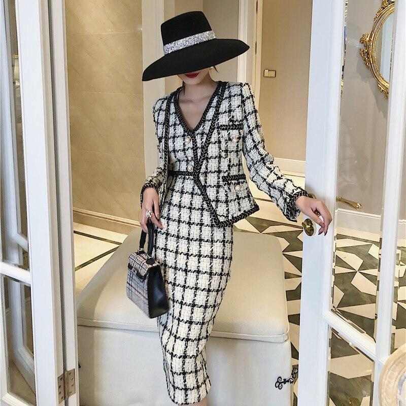 Fall Winter Dress Suit New Fashion 2019 Women V-neck Long Sleeve Plaid Short Jacket Tank PearlsTweed Mid-calf Dress 2 Pieces Set