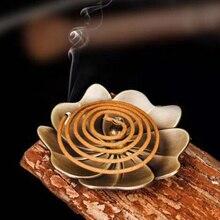 2019 flor forma Vintage Metal Backflow incienso quemador aleación fragancia horno platos Zen Budista incienso titular decoración del hogar