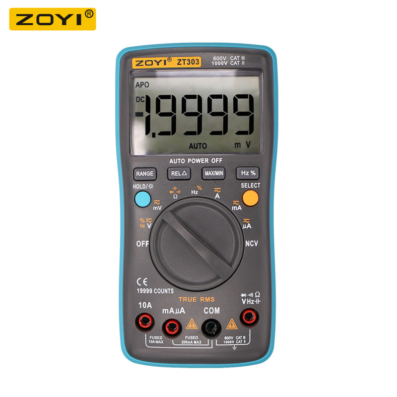 ZOYI <font><b>ZT303</b></font> Digital Multimeter 19999 Counts True-RMS Back Light AC DC Voltage Ammeter Current Ohm Auto/Manual image