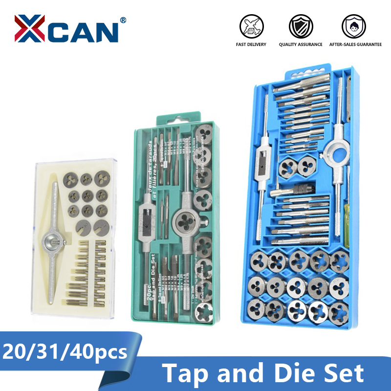 XCAN 20/31/40pcs Tap And Die Set Thread Screw Plug Tap Drill Metric Hand Tap Die Wrench Threading Tool