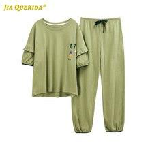 New Fashion Style Crew Neck Plus Size Homesuit Homeclothes Short Sleeve Long Pants Pajamas Set Pj Set Womens Pajamas Sleepwear