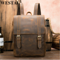 WESTAL men's backpack genuine leather vintage designer luxury brand school bag for men 15 inch laptop for books satchel daypack