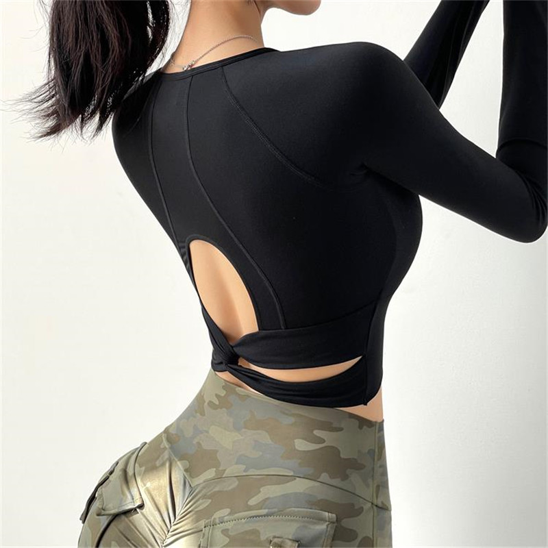 Long Sleeve Gym Crop Top Sexy Yoga Shirts Women Fitness T-Shirts Hollow Out Back Sports Top Running Active Wear Workout Sport9s