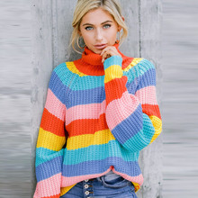 KHALEE YOSE Rainbow Knitted Sweater Stripe Turtleneck Pullovers Colorful Oversized Autumn Winter Boho Sweaters Womens Jumpers