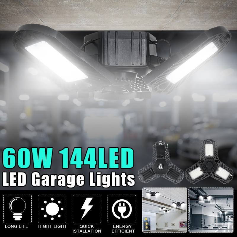 Led Garage Lamp Deform Industrial Lamp E27/E26 Led High Bay Light 60W Workshop Parking Warehouse Lamp Garage Light 85-265v