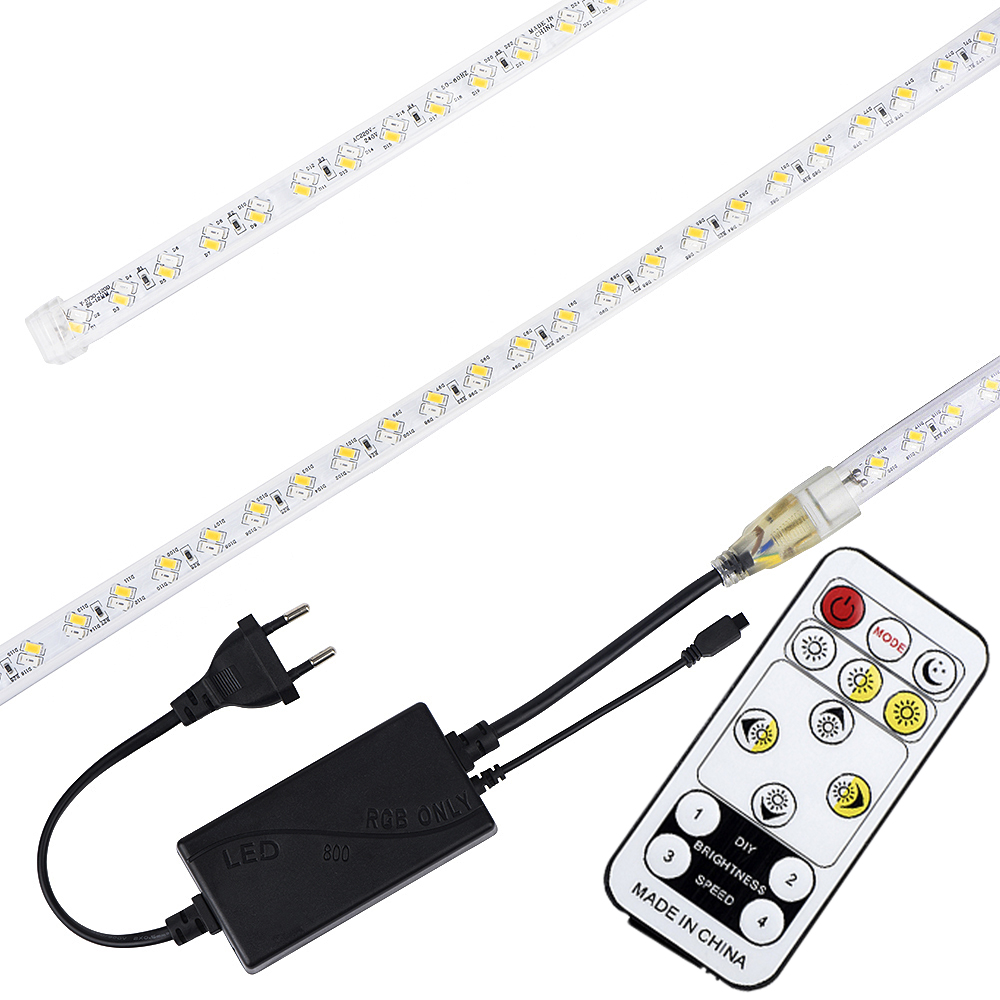 LAIMAIK AC220V LED Strip Light Waterproof IP67 60leds/m 5050SMD Dimmable With Remote Ribbon tape
