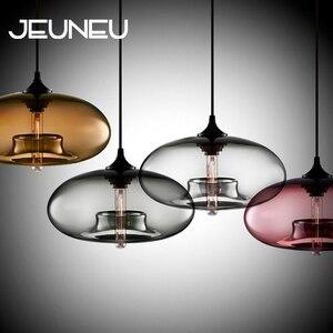 Nordic Modern Loft Pendant Lamp 7 Color Glass Lustre Industrial Decor Hanging Lights Fixtures E27/E26 for Kitchen Restaurant