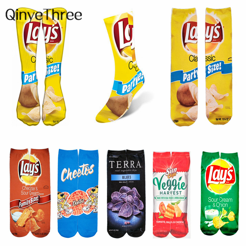 Women's Creative Happy Foods Potato Chips Printing Snack Candy Knee Socks Funny Harajuku Casual Cotton Fashion Long Socks