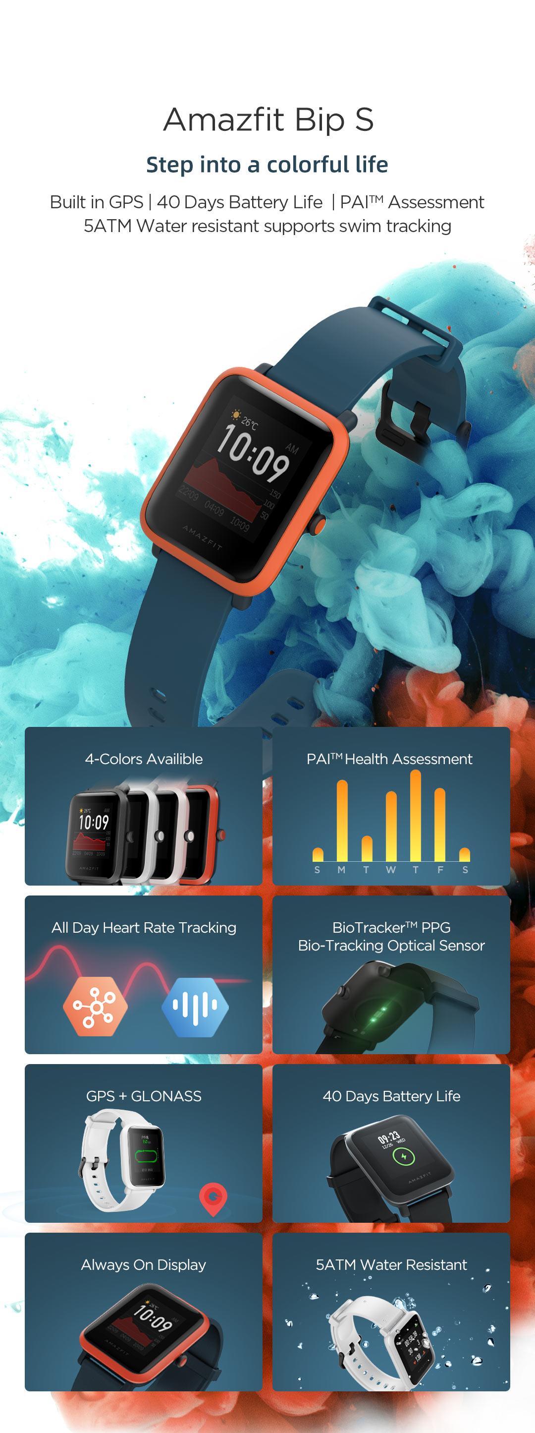 Hab94fdd3a8b74256ad3df06e5a1a6b98A In Stock 2020 Global Amazfit Bip S Smartwatch 5ATM waterproof built in GPS GLONASS Smart Watch for Android iOS Phone