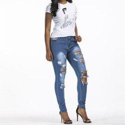 Mujeres Vintage ahueca hacia fuera Ripped Jeans Hole largos Sexy cintura alta lápiz Denim Pantalones ajustados pantalones casuales Pantalones