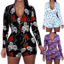 Сексуальный женский комбинезон с v-образным вырезом, животным принтом, бодикон, одежда для сна, комбинезон с пуговицами, боди, шорты, комбинезон, 3 цвета, боди с длинным рукавом