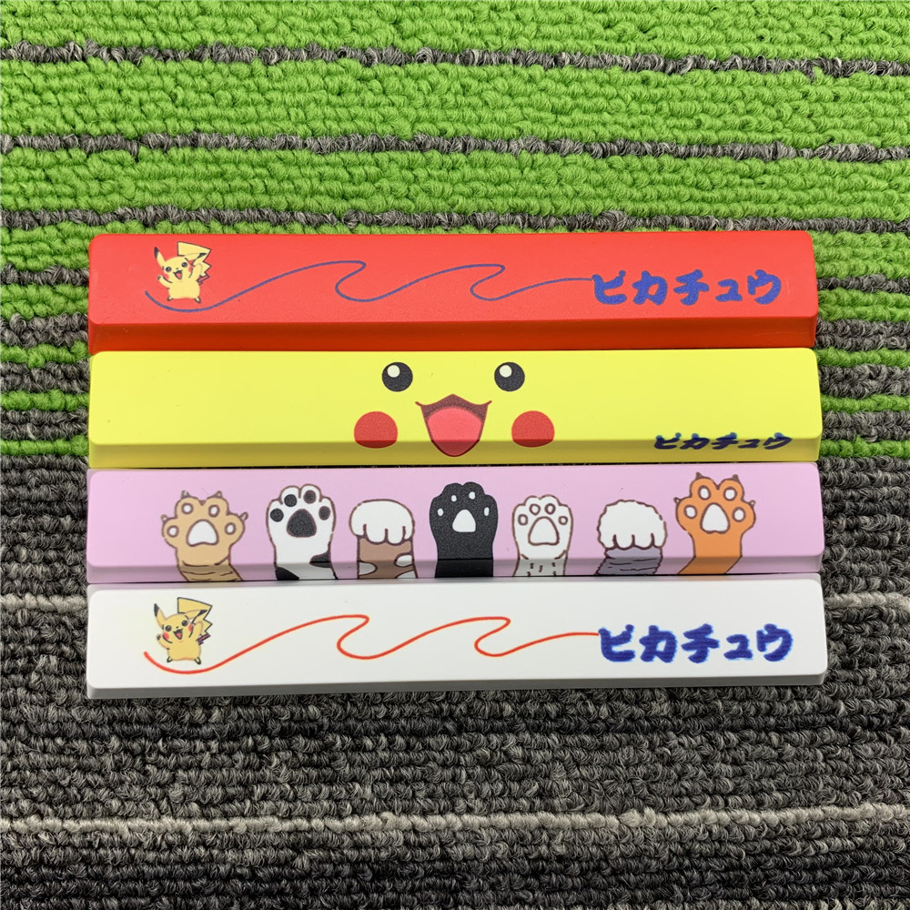 1 Piece Five Sides Dye Sublimation Space Key Cap For MX Switch Mechanical Keyboard 6.25X 6.25U Spacebar For Pikachu