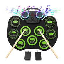 Digital Electronic Drum Set Portable USB Roll Up Drum Kit 9 Silicon Drum Pads with Drumsticks Foot Pedals for Beginners Children