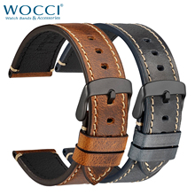 WOCCI Genuine Leather Watches Strap Watchband 18mm 20mm 22mm 24mm Business Casual Style Brown Black Men Bracelet Replacement