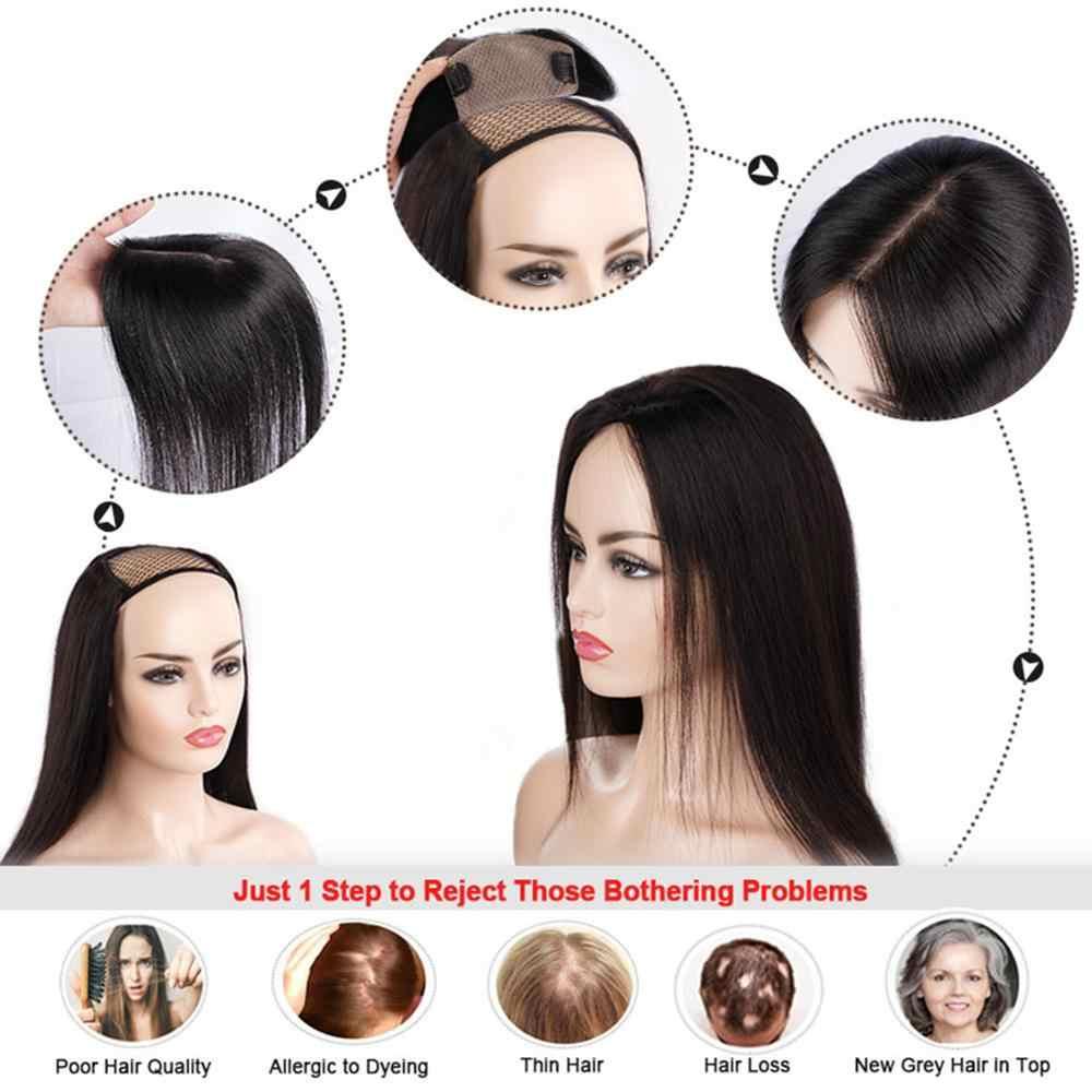 """Neitsi 14 """"15*17 cm 6*7"""" seda Base cutícula mujer Remy Peluca de adorno de pelo con 6 Clips en peluquín de cabello humano Natural"""