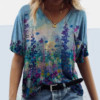 Vintage Woman Tshirts Plus Size Women Short Sleeve Flower Printed V-Neck Tops Tee T-Shirt Graphic T Shirts