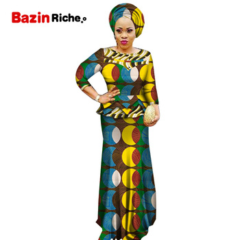 African Women Bazin Patchwork Tops and Skirt Sets African Print Dashiki Traditional 2 Pieces Mermaid Skirt Sets Clothing WY5939
