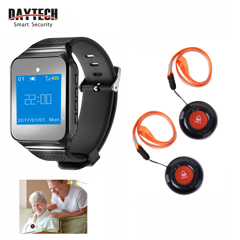DAYTECH Wireless Wrist Pager Smart Calling System Caregiver Pager Watch For Elder/Patient/Disable Home Wearable Receiver Alert