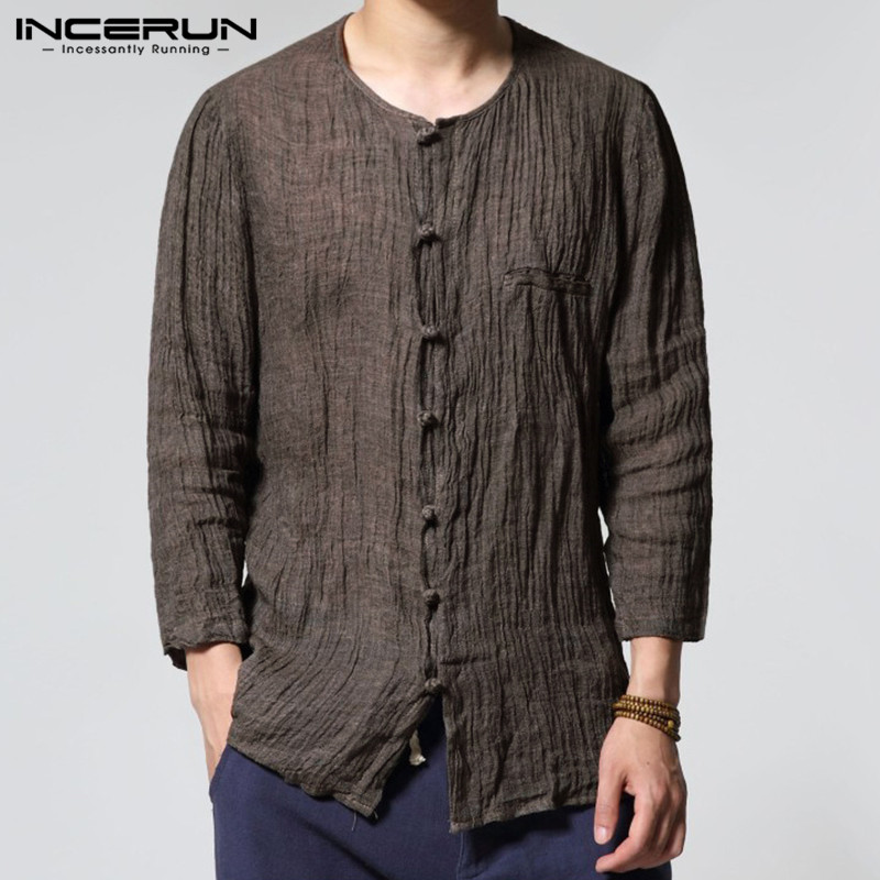 INCERUN 2019 Chinese Style Men Shirts Solid O-neck 3/4 Sleeve Cotton Vintage Shirt Casual Thin Fitness Camisa Masculina S-3XL