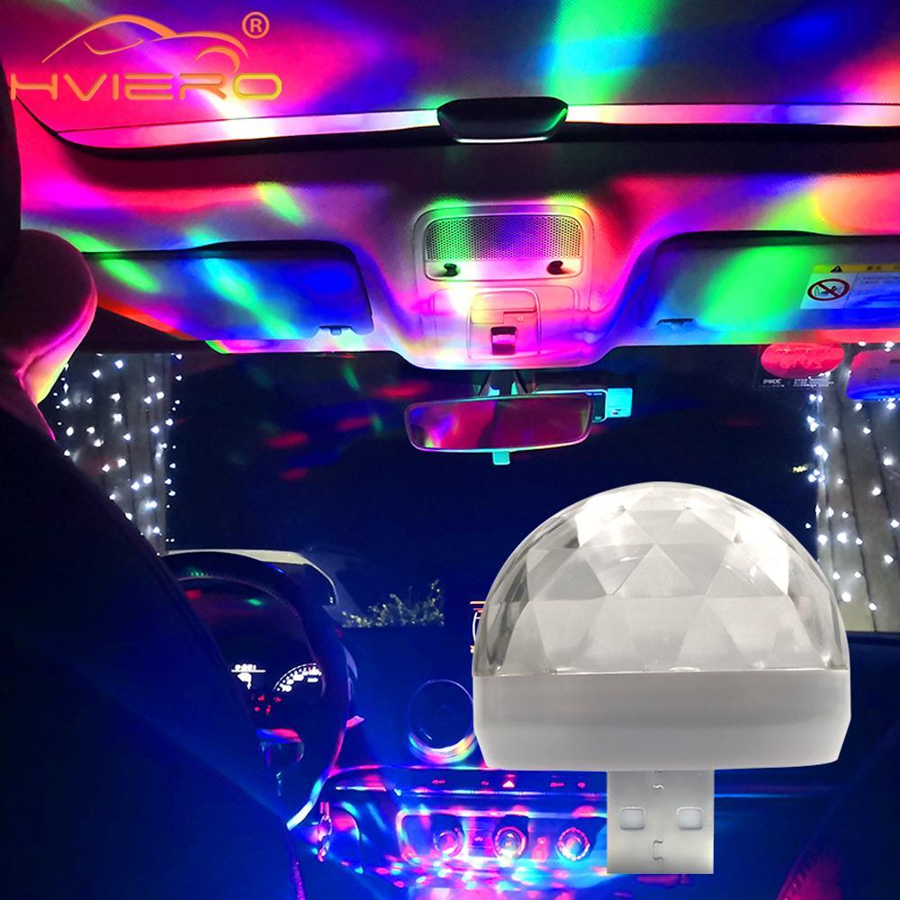 Car Led Auto Lamp USB Ambient Light DJ RGB Mini Colorful Music Sound Light USB-C Interface Apple Interface Holiday Party Karaoke