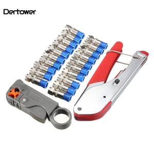 Compression Tool Kit Rg59 Rg6 Coax Crimping Tool Double Blades Coaxial Cable Stripper with 20Pcs Blue F Connectors(China)