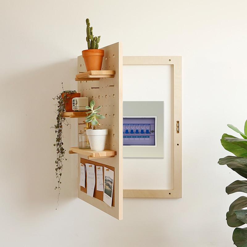 Meter Box Hole Plate Block Distribution Box Decoration Box Solid Wood Creative Hook Nordic INS Weak Electric Box Decoration