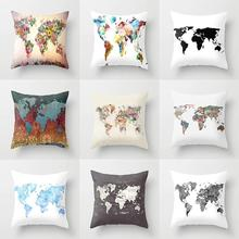 45*45 cm New Decorative Pillow Case World Map Pattern Printing Sofa Seat Kid's Playroom Soft Cushion Cover Home Decor Pillowcase creative blue eye world map pattern square shape flax pillowcase without pillow inner