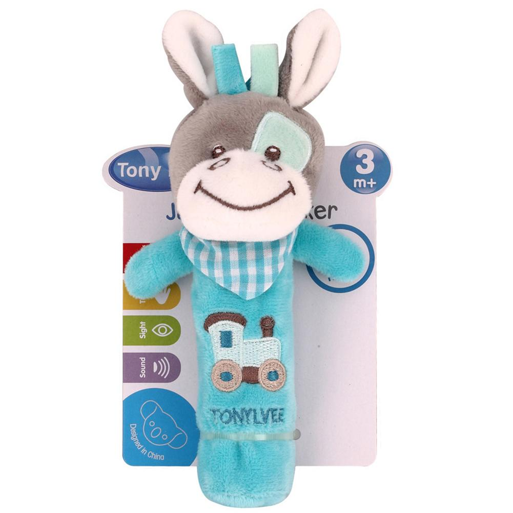 New Born Baby Rattle Doll Hand Rattle Graping BB Stick Plush Cow Animal Doll Crib Bed Hanging Toy Length 17cm