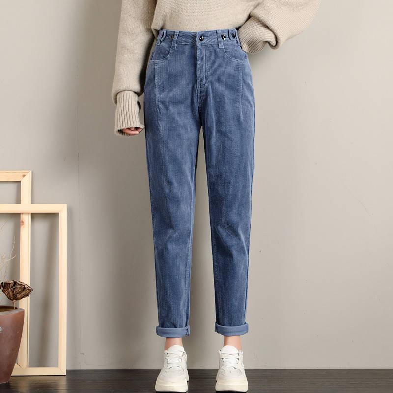 Corduroy High Waist Pants Women New Blue Long Autumn Winter Pants Women Pentalon Femme Casual Harem Pants Ladies Trousers C5914