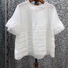 100%Linen Tops 2020 Summer Fashion Blouses Women O-Neck Hollow Out Lace Embroidery Short Sleeve Casual Green Black White Tops