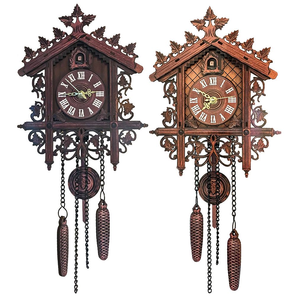 Retro Vintage Cuckoo Clock Hand-carved Wood Wall Clock Handicraft Vintage Alarm Clock For Room Study Bedroom European Style New