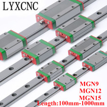 CNC Parts MGN9 MGN12 MGN15 300 350 400 500 600 800 1000mm MGN Linear Rail Slide 1PC MGN15 Carriage + 1PC MGN15 Linear Guide
