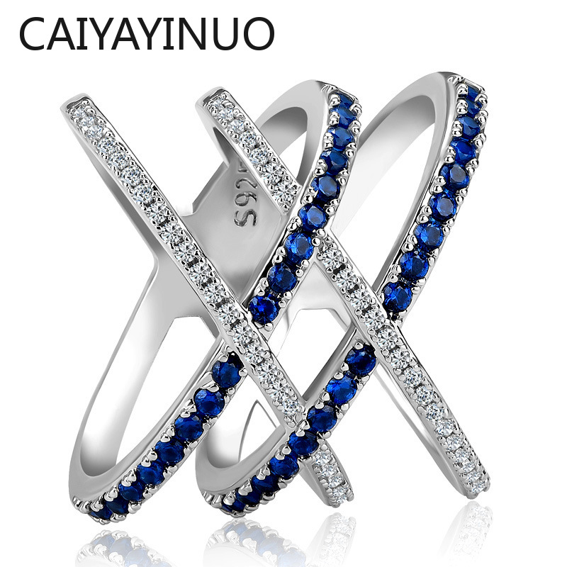 Jellystory Fashion Ring 925 Silver Jewelry with Sapphire Zircon Gemstones Double Cross Shaped Ring for Women Wedding Party Gifts