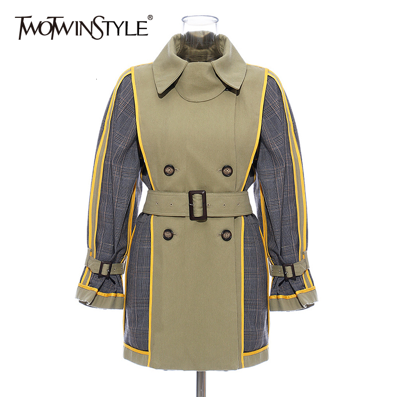 TWOTWINSTYLE Patchwork Hit Color Women's Trench Coat Lapel Collar Long Sleeve High Waist With Sashes Female Windbreaker 2020 New