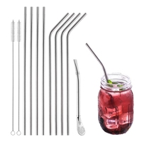 Drinking Straws Set Of 12 Pieces Stainless Steel Reutilisables With Cleaning Brushes With A Special Straw For Mojito Drink|Cleaning Brushes| |  -