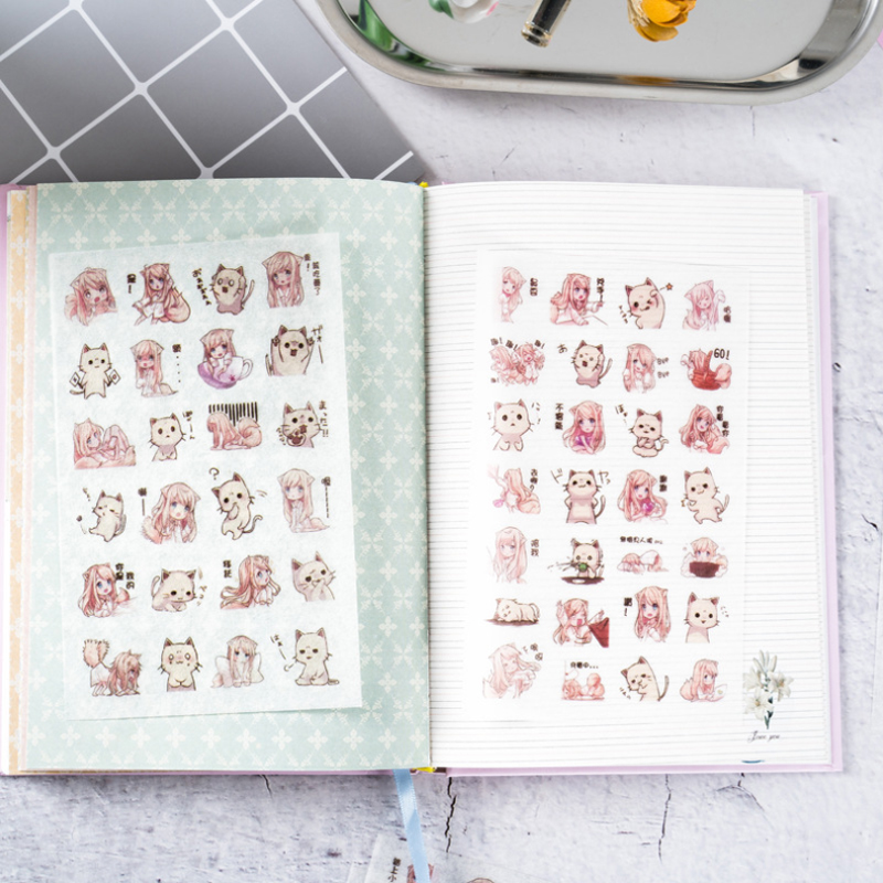 6pcs/pack  New Fashion Paper Doll  Paper Sticker/cute Note Decoration Label / Multifunction / Children Stickers Gifts