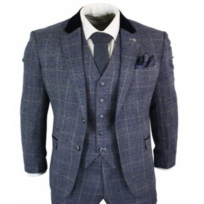 2020 Handsome Mens Suits Blue Navy 3 Piece Tweed Suit Herringbone Vintage Peaky Blinders Retro Costume Homme