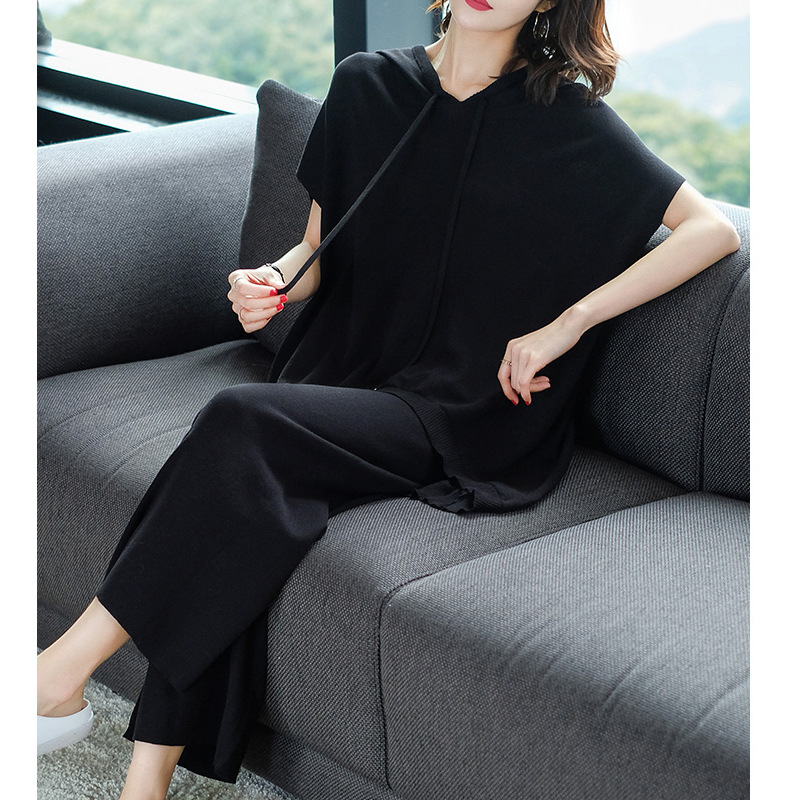 Goddess-Style Western Style Summer Wear Fashion & Sports WOMEN'S Suit Large Size Loose Casual Knitted Sportswear Two-Piece Set